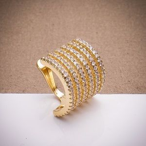 18K Gold Filled 6 Pave Band Ear Cuff